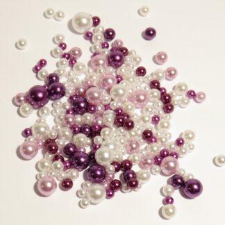 Mixpåse med tre färger pärlor utan hål. 4-10mm