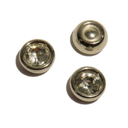 10mm rund blingpärla med silverkant och ofärgad diamantform