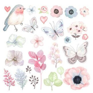 Vinyltryck Fjärilar blommor