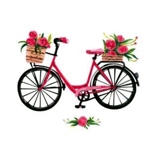 Vinyltryck Cykel blommor
