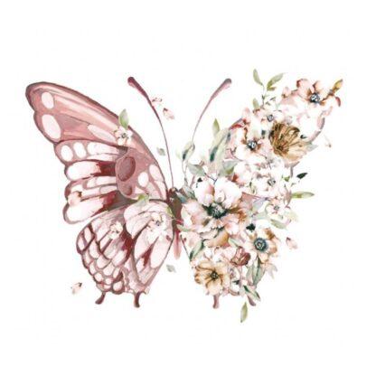 Vinyltryck Fjäril blommor