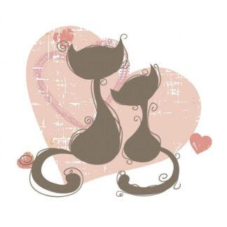 Vinyltryck Katt hjärtan