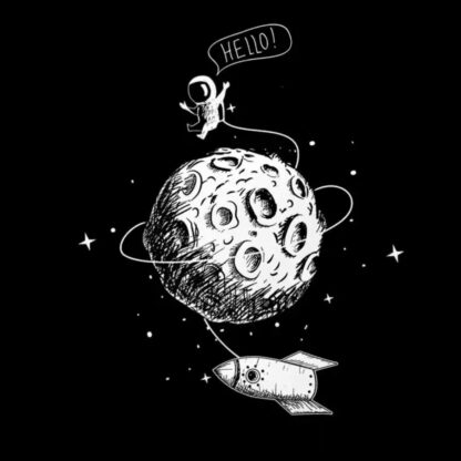 Vinyltryck Hello space 25x21