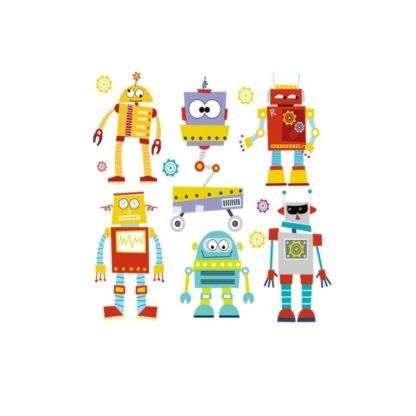 Vinyltryck Robotar 6 st 21x20