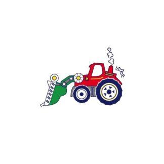 Vinyltryck Traktor röd - 17x12