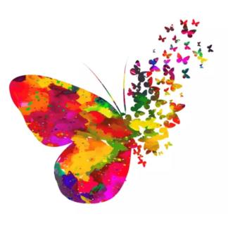 Vinyltryck fjärilar flyger 23x21