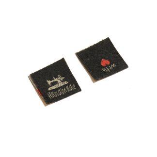 tygmärke fyrkant 2x2cm (4x2) svart symaskin