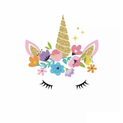 Vinyltryck unicorn eyes guld stor 22x22