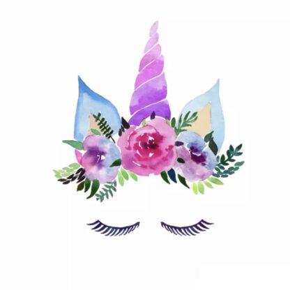 Vinyltryck unicorn eyes rosa stor 23x20
