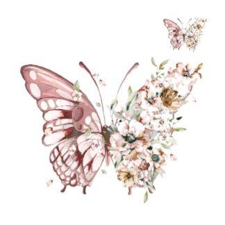 Vinyltryck set Fjäril blommor