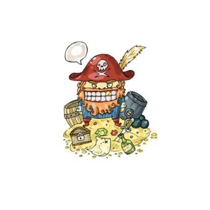 Vinyltryck Pirat skatt 11x13cm