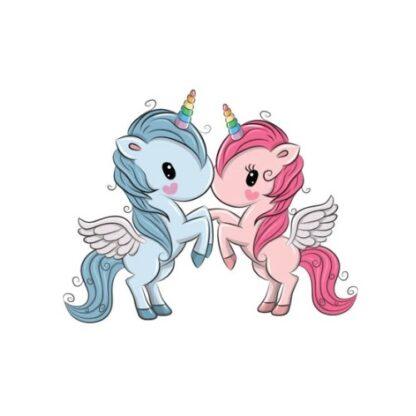 Vinyltryck Unicorns par står blå rosa 6x7