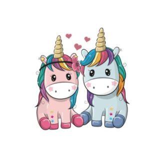 Vinyltryck Unicorns par sitter blå rosa 7x8