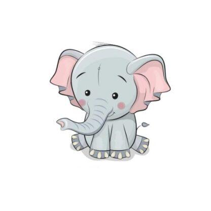 Vinyltryck elefant sitter 7x7