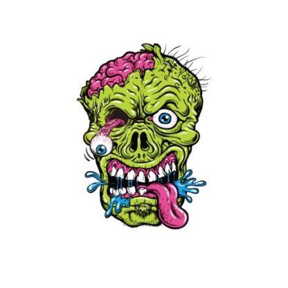 Vinyltryck grön hjärna 10x14