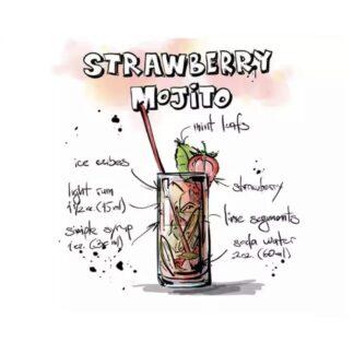 vinyltryck strawberry mojito 18x18