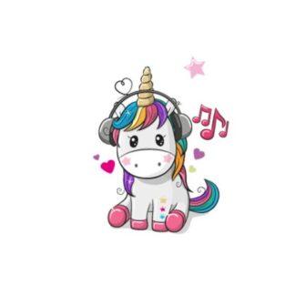 Vinyltryck unicorn sitter musik 6x6