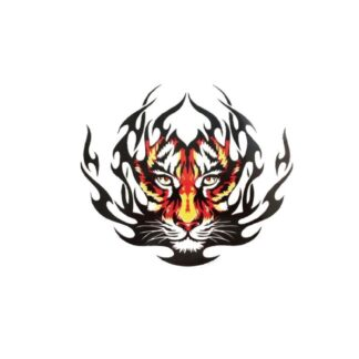 vinyltryck tiger flammor 25x21cm