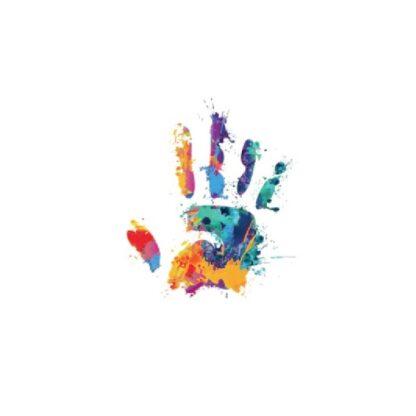 vinyltryck L Handavtryck regnbåge 18x22