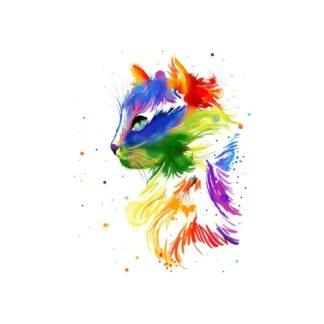 vinyltryck L Katt regnbåge 22x17