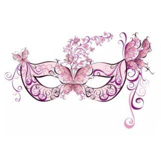 vinyltryck L ögonmask rosa fjärilar 23x15