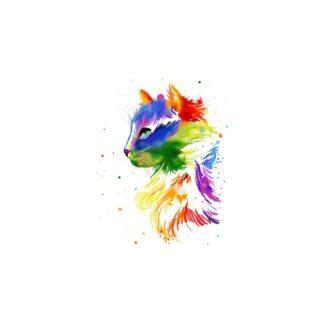 vinyltryck M Katt regnbåge 10x8