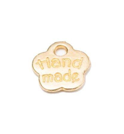 METAL TAGS Minimärke handmade 8x8mm blomma guld