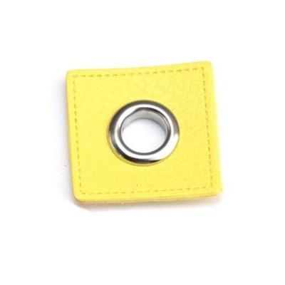 31 Fuskläderlapp med öljett FYRKANT gul silver 27x27