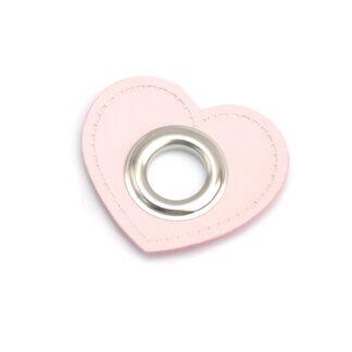 Fuskläderlapp med öljett stort HJÄRTA rosa silver