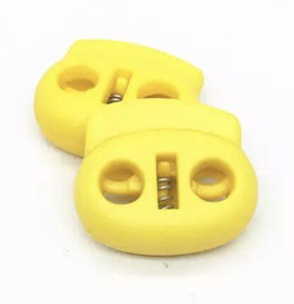 Snörlås dubbelt platt gul