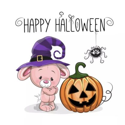 vinyltryck M Happy Halloween Nalle 12x13